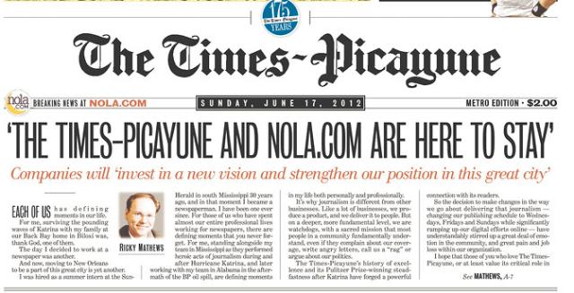 Times-Picayune headline