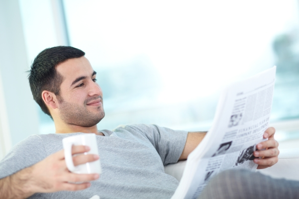 Reading newspaper